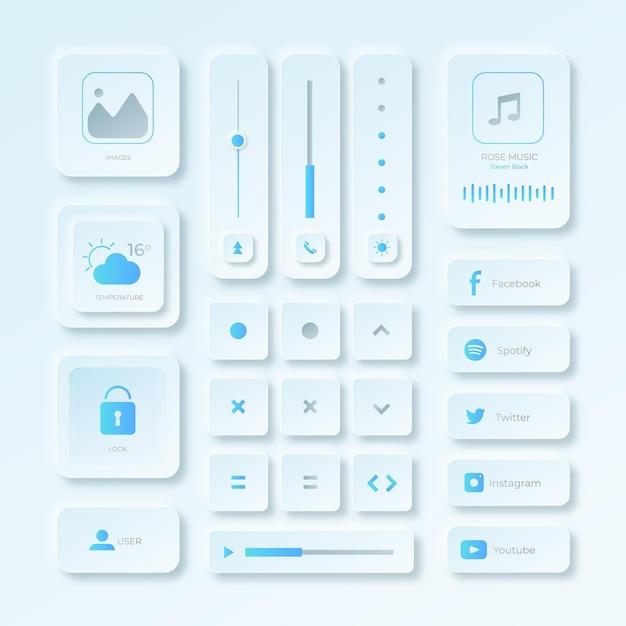 Realistic neumorphic design user interface elements Premium Vector