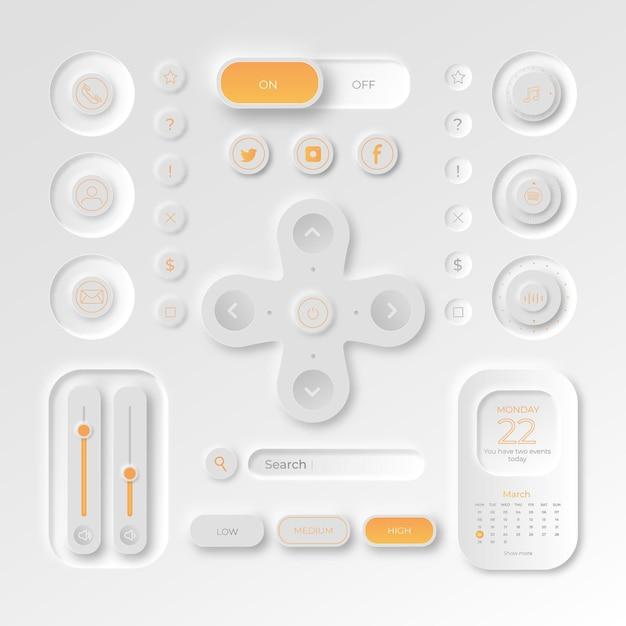 リアルなニューモルフィックデザインのユーザーインターフェイス要素 無料ベクター