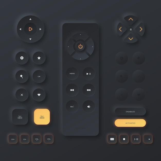 Realistic neumorphic design user interface elements Free Vector
