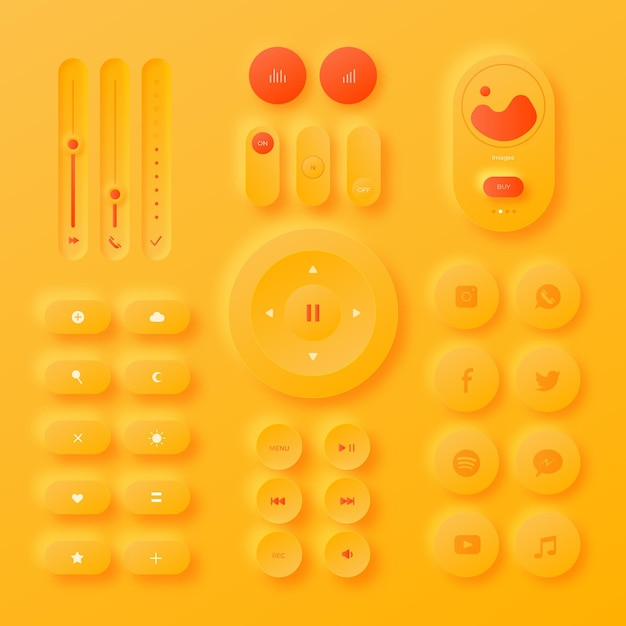 Realistic neumorphic design user interface elements Free Vector