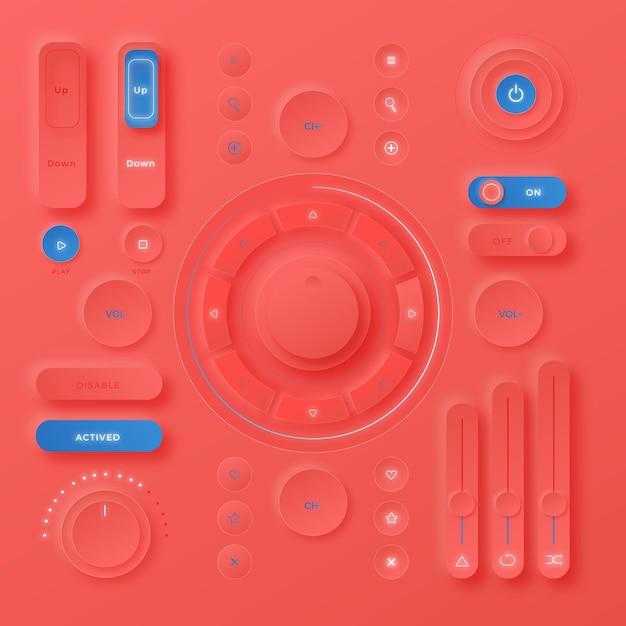 Реалистичные нейморфные элементы пользовательского интерфейса дизайна Бесплатные векторы