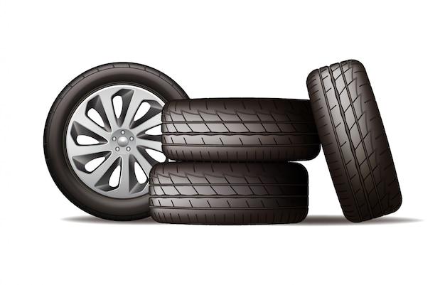 Реалистичные новые черные автомобильные колеса, четыре шины Premium векторы