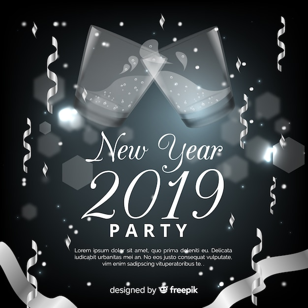 Realistic new year 2019 background Free Vector