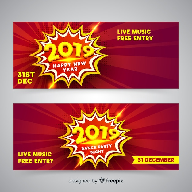 realistic new year 2019 party banners free vector