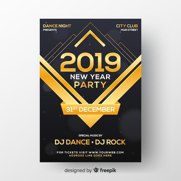 Realistic new year 2019 party flyer template Free Vector