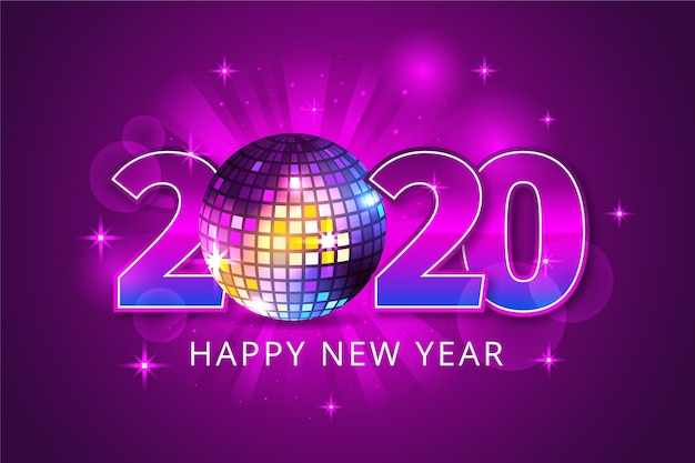 Realistic new year 2020 background Free Vector
