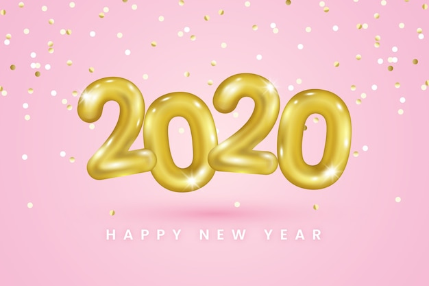 Realistic new year 2020 balloons background Free Vector