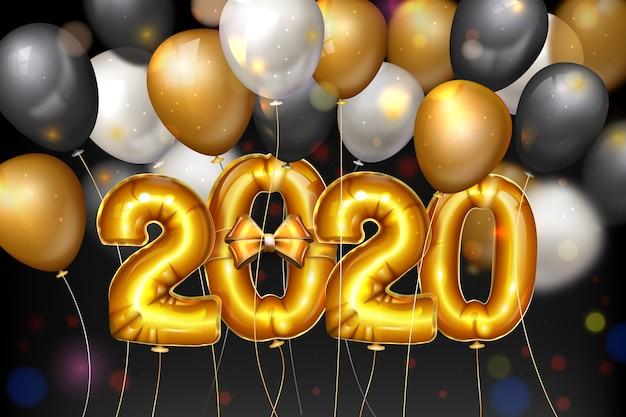 Realistico capodanno 2020 palloncini sullo sfondo Vettore gratuito