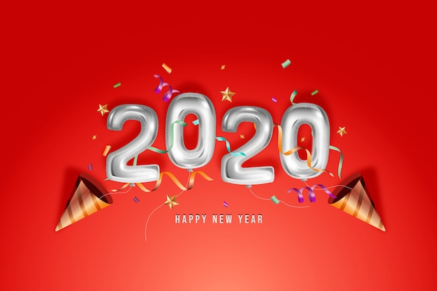 Realistic new year 2020 balloons design Free Vector