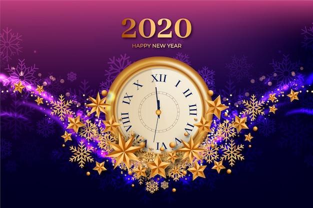 リアルな新年2020クロックの背景 無料ベクター