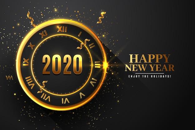 現実的な新年2020時計壁紙テーマ 無料ベクター
