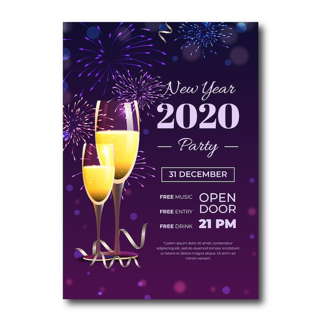 Realistic new year 2020 party flyer template Free Vector