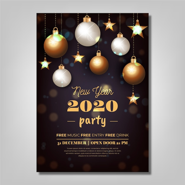 Realistic new year 2020 party poster template Free Vector