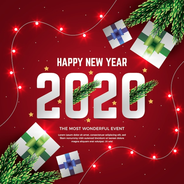 Realistic new year 2020 Free Vector