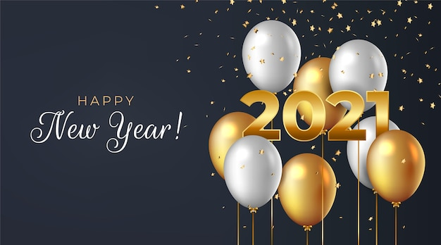 Realistic new year 2021 background Free Vector