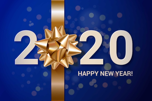 Realistic new year background with golden gift bow Free Vector