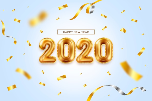 Realistic new year balloons background Free Vector
