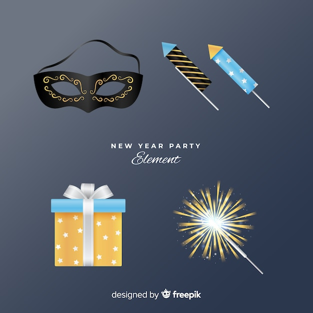 Realistic new year party elements set Free Vector