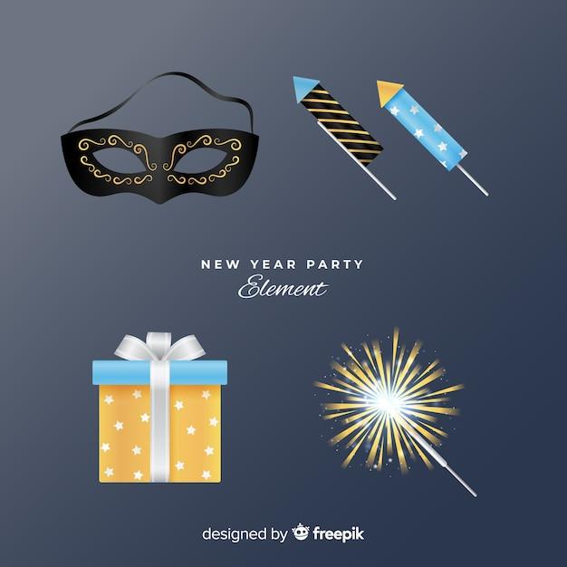 Реалистичные элементы нового года Бесплатные векторы