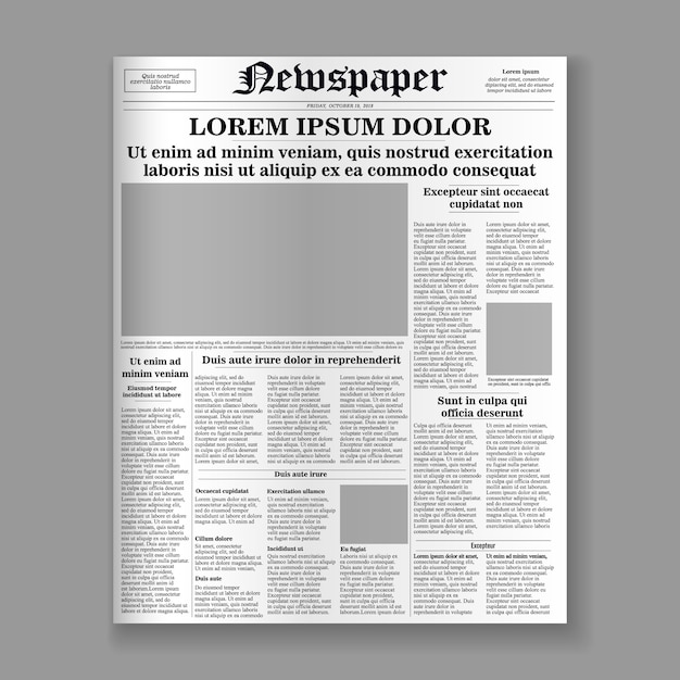 Realistic newspaper front page template. Premium Vector