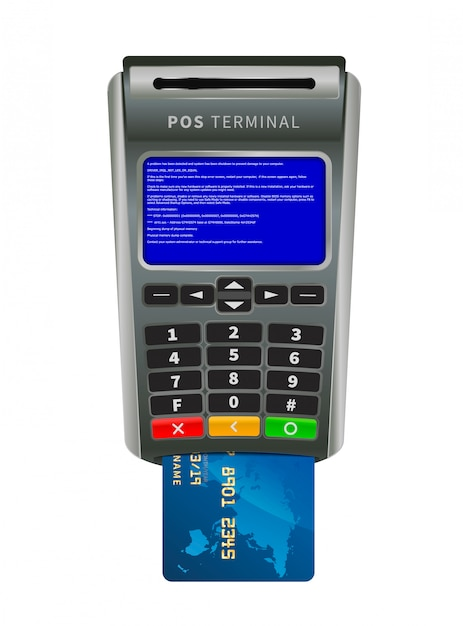 Realistic nfc pos terminal for payment with bug bsod error message on white Premium Vector