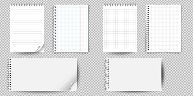 Realistic notebook or notepad with binder isolated. memo note pad or diary with lined and squared paper page templates. Premium Vector