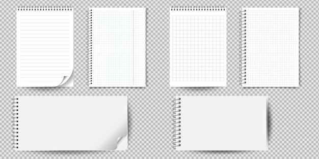 현실적인 노트북 또는 바인더 격리와 메모장입니다. 줄이 그어진 종이 페이지 서식 파일이있는 메모 노트 패드 또는 일기. 프리미엄 벡터