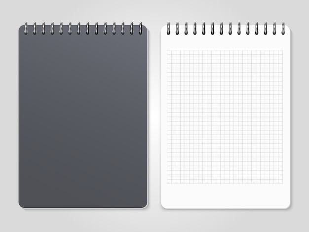 Realistic notebooks with spiral - cover and lined page Premium Vector