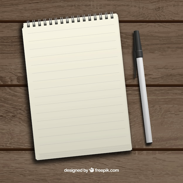 Realistic notepad and pen Free Vector