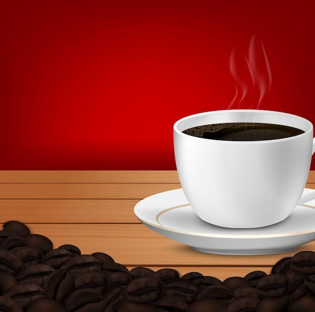 Реалистично кубок кофе и кофейных зерен Premium векторы