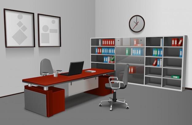 Реалистичный офисный интерьер Бесплатные векторы