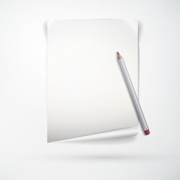 Реалистичная концепция канцелярских принадлежностей с чистым листом бумаги и деревянным карандашом на изолированном свете Бесплатные векторы