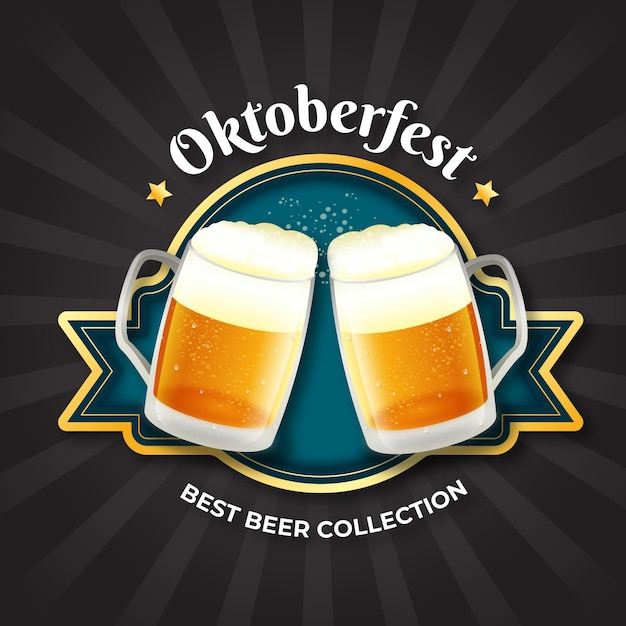Realistic oktoberfest background with pints Free Vector