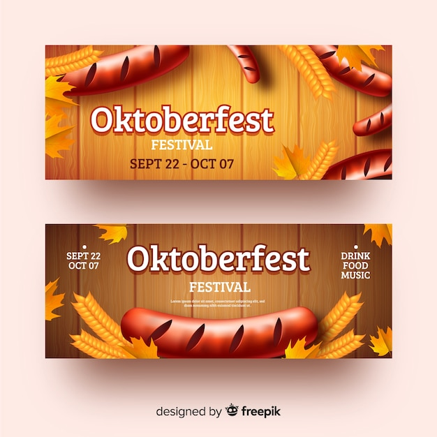 Realistic oktoberfest banners template Free Vector
