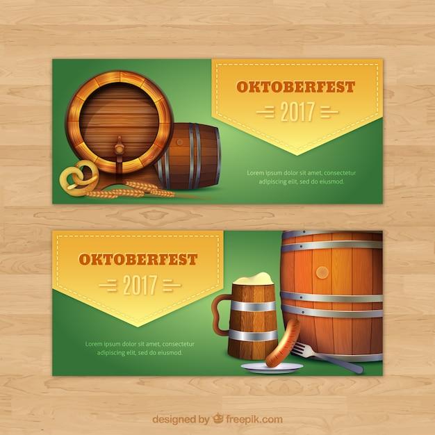 Realistic oktoberfest banners with barrels