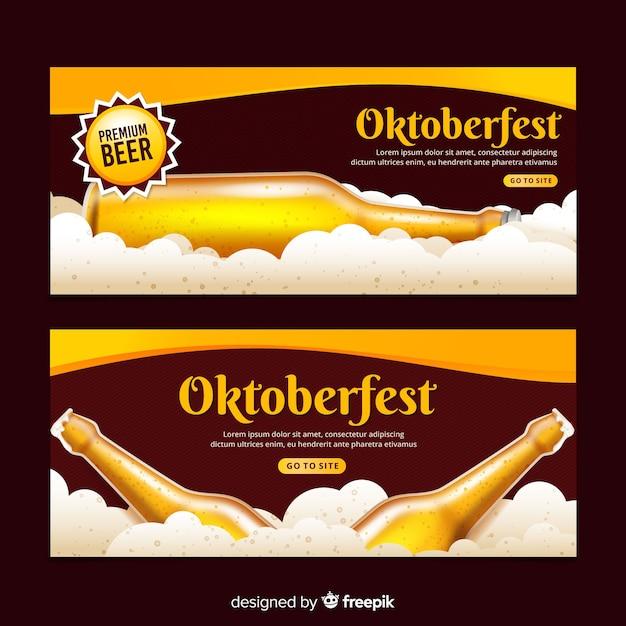 Realistic oktoberfest banners Free Vector