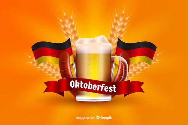 Realistic oktoberfest beer mug Free Vector