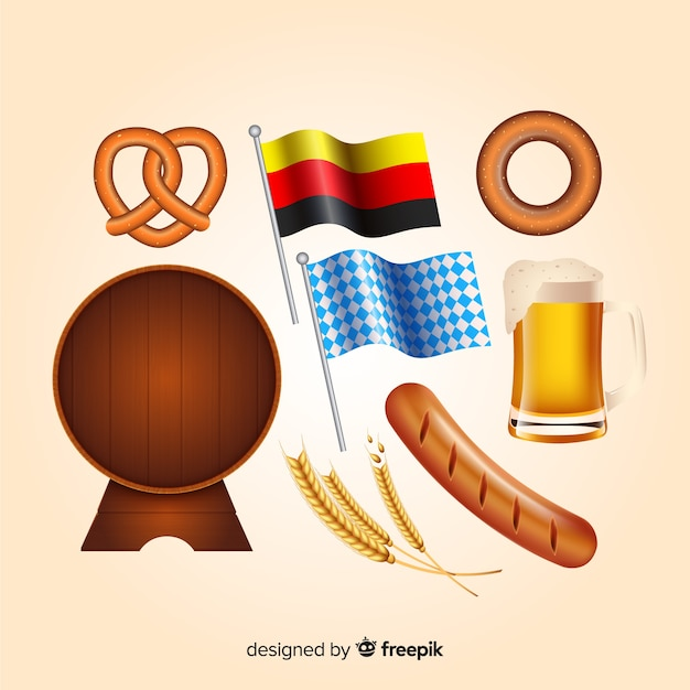Realistic oktoberfest element collection Free Vector