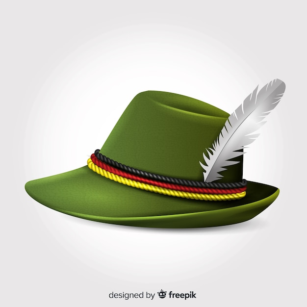 Realistic oktoberfest hat with plume Free Vector
