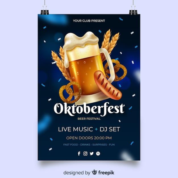 Realistic oktoberfest poster template Free Vector
