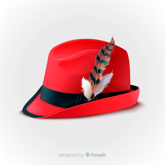 Realistic oktoberfest red hat Free Vector