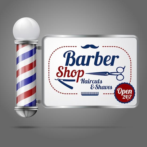 バーバーサイン付きのリアルな昔ながらのヴィンテージシルバーとガラスの理髪店のポール。 Premiumベクター