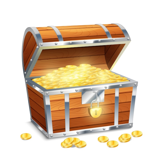 Realistic old style pirate treasure chest Free Vector