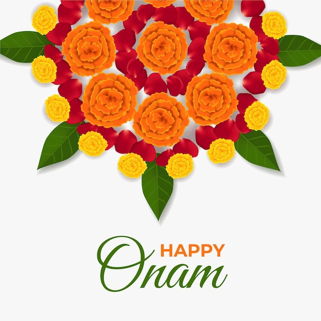 Realistic onam floral decoration Free Vector