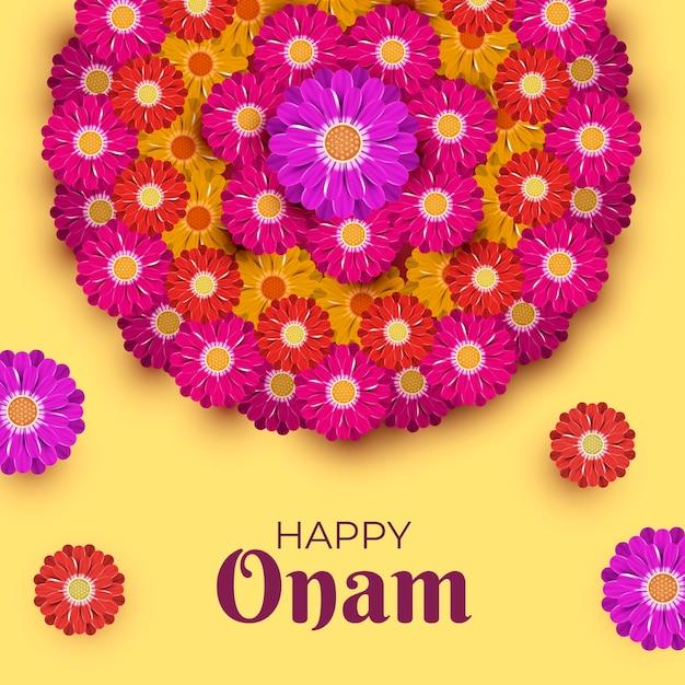 Realistic onam floral decoration Free Vector