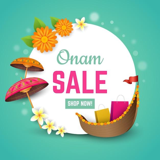 Realistic onam sales concept Free Vector