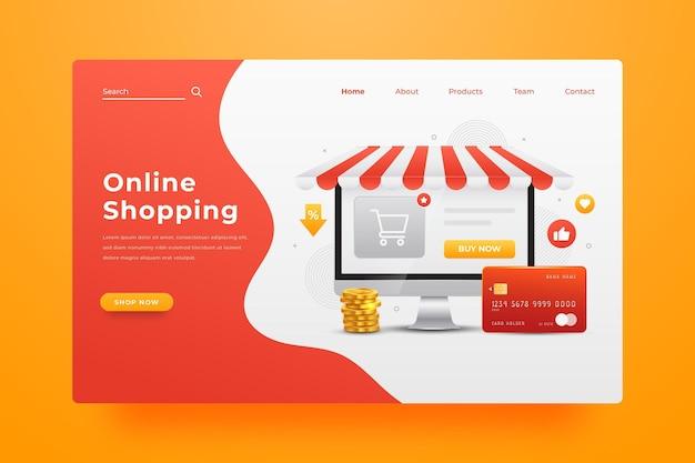 リアルなオンラインショッピングのランディングページ 無料ベクター