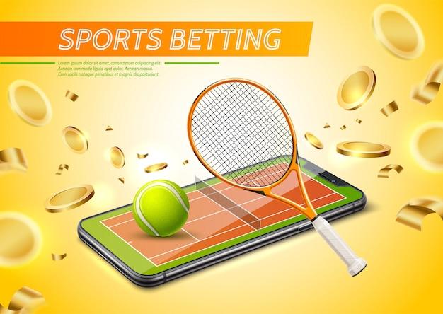 황금 동전 스마트 폰 화면에서 테니스 코트와 현실적인 온라인 도박 도박 포스터 프리미엄 벡터