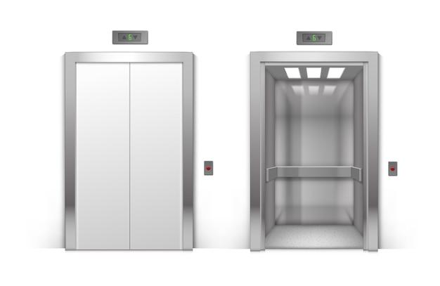 현실적인 개방 및 폐쇄 크롬 금속 사무실 건물 엘리베이터 문 배경에 고립 프리미엄 벡터