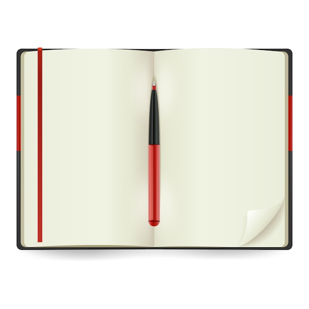 Realistic open notepad Free Vector
